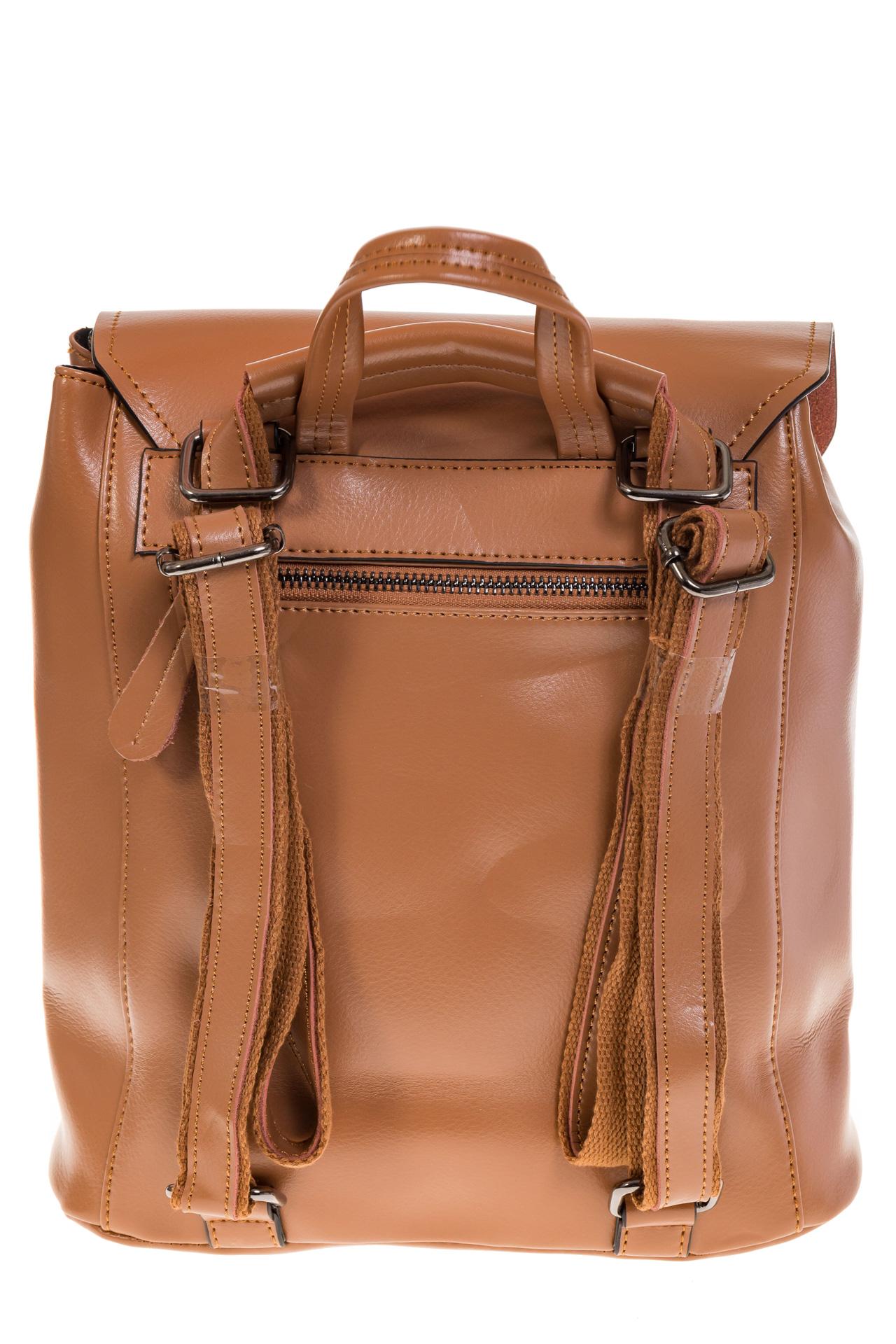 На фото 3 - Женский рюкзак – трансформер из натуральной кожи цвета кофе с молоком 3005