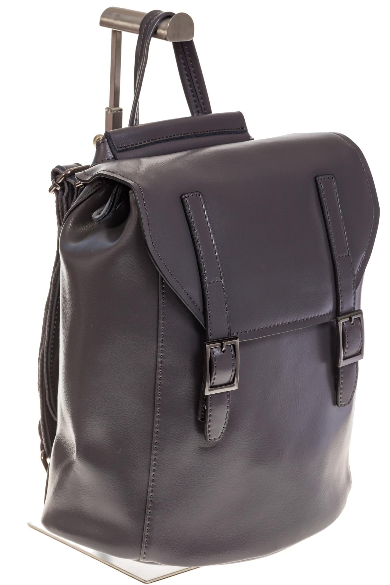 На фото 1 - Женский рюкзак – трансформер из натуральной кожи серого цвета 3005