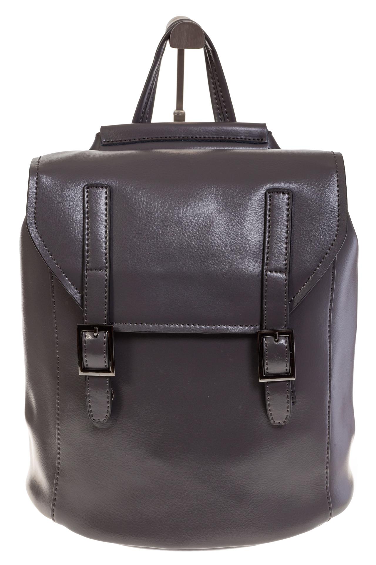 На фото 2 - Женский рюкзак – трансформер из натуральной кожи серого цвета 3005