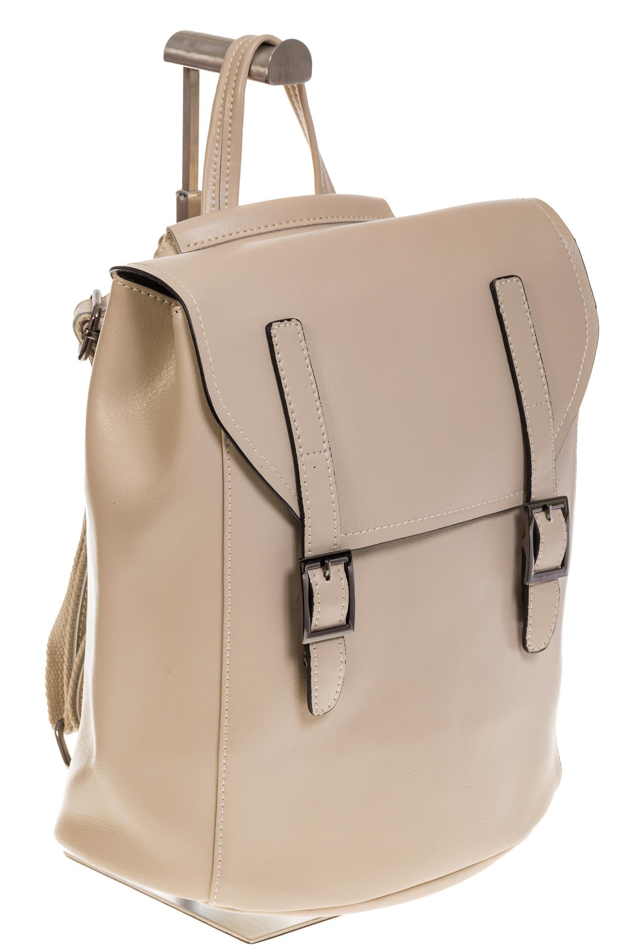 На фото 1 - Женский рюкзак – трансформер из натуральной кожи молочного цвета 3005