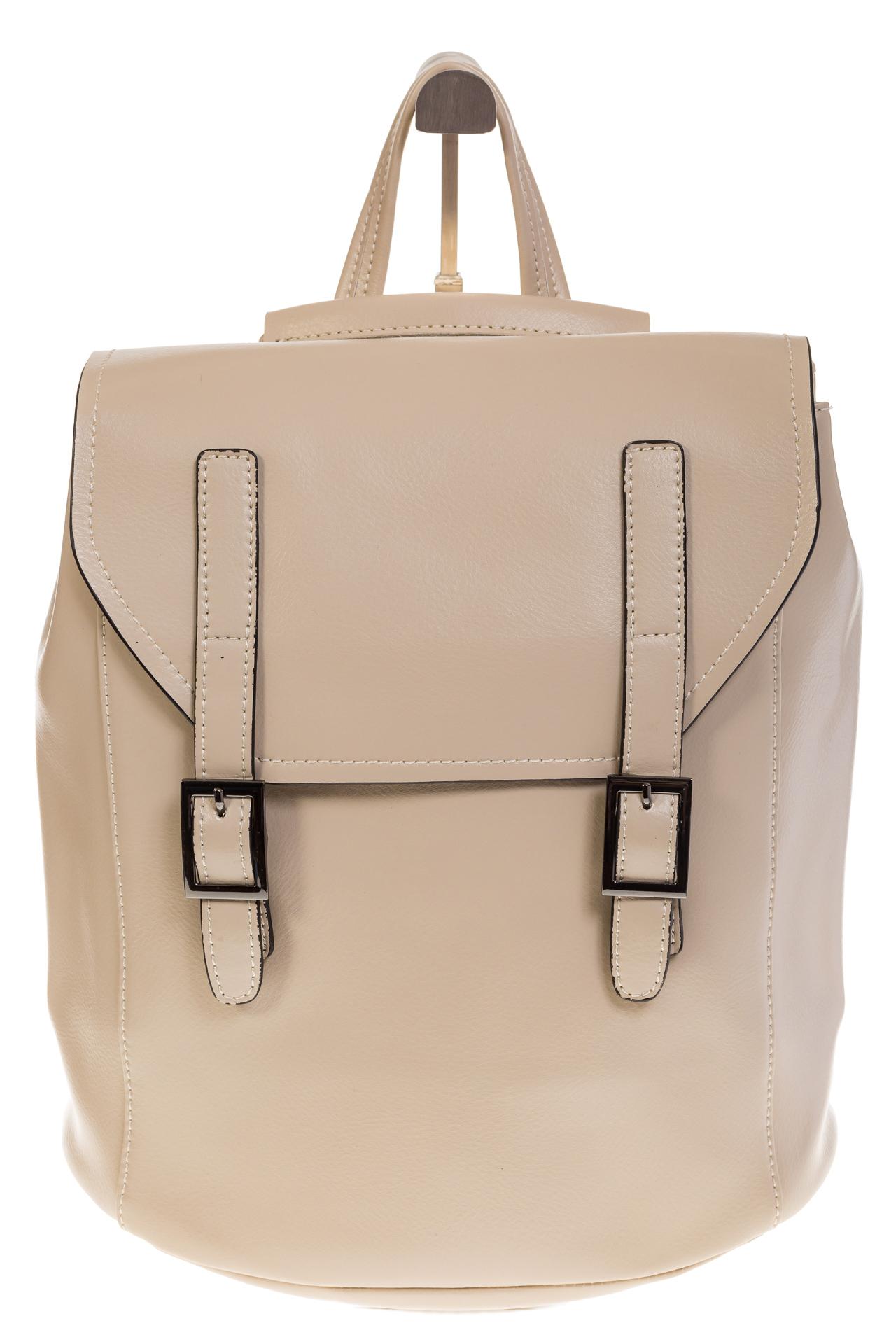 На фото 2 - Женский рюкзак – трансформер из натуральной кожи молочного цвета 3005