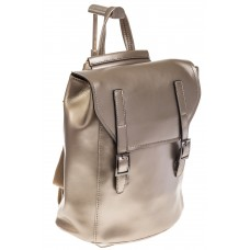 На фото 1 - Женский рюкзак – трансформер из натуральной кожи золотого цвета 3005