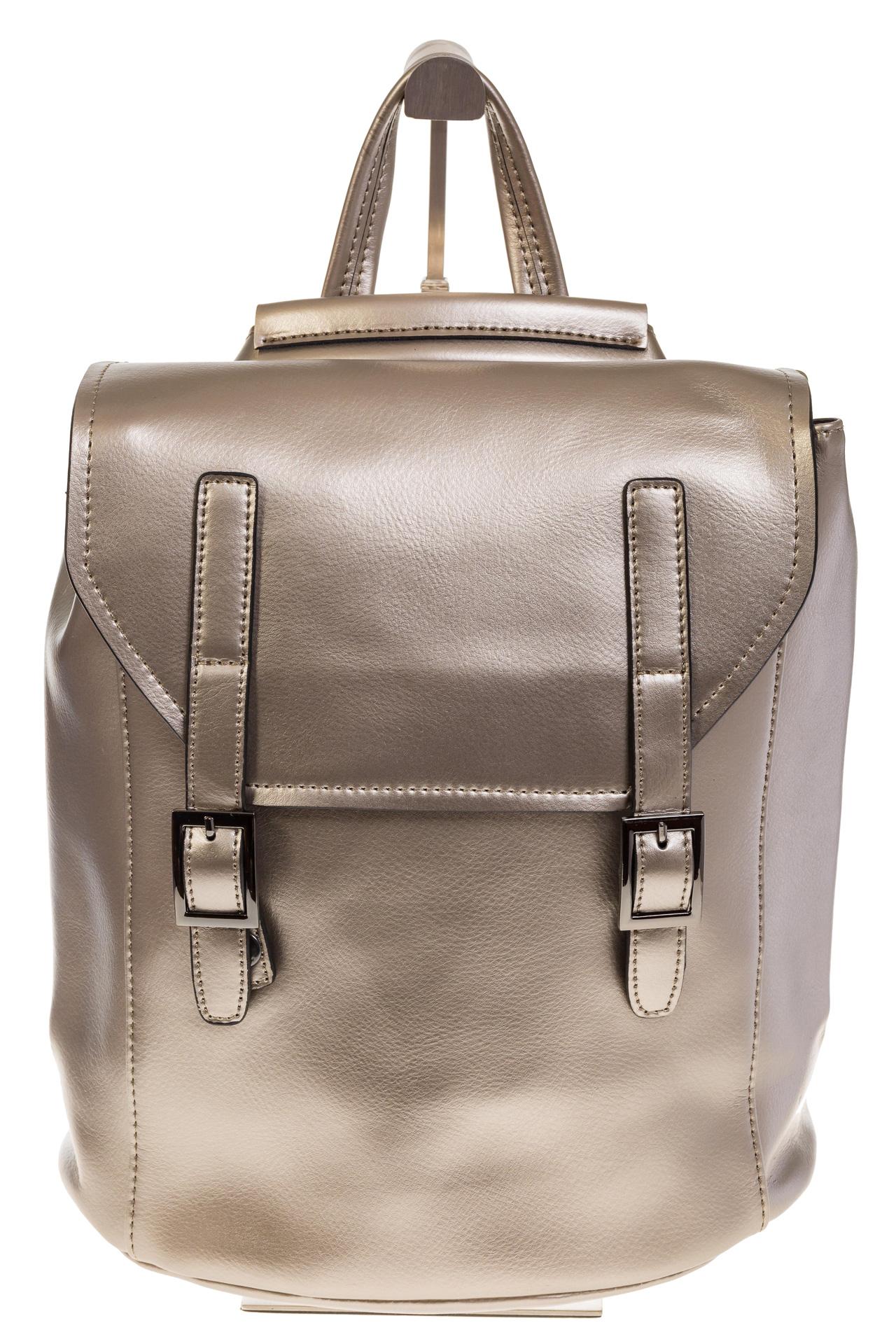 На фото 2 - Женский рюкзак – трансформер из натуральной кожи золотого цвета 3005