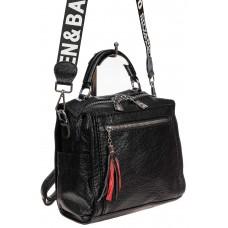 На фото 1 - Компактная сумка-рюкзак из искусственной кожи, цвет чёрный