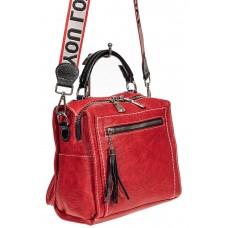 На фото 1 - Компактная сумка-рюкзак из искусственной кожи, цвет красный
