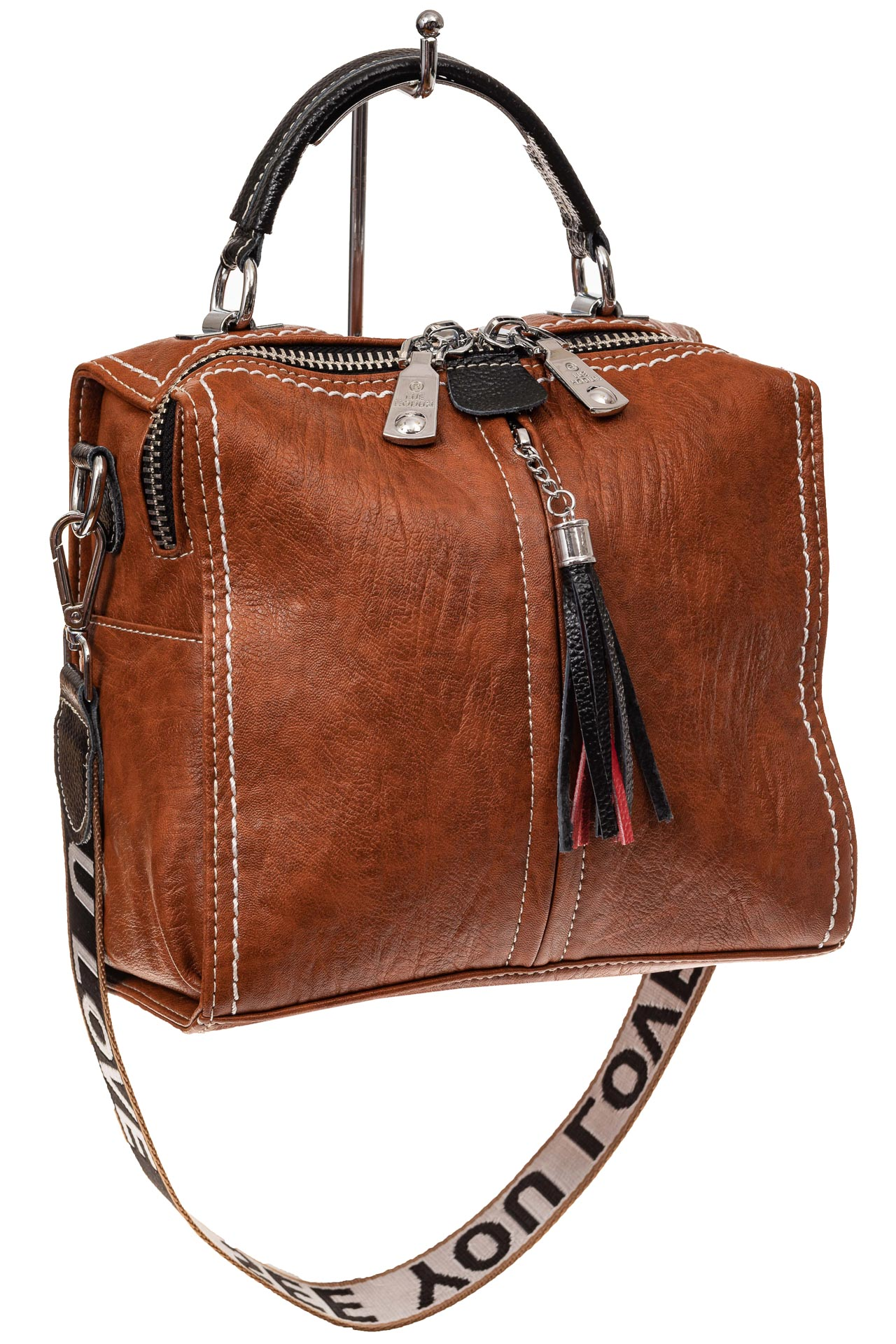 На фото 1 - Сумка рюкзак-трансформер из искусственной кожи, цвет коричневый