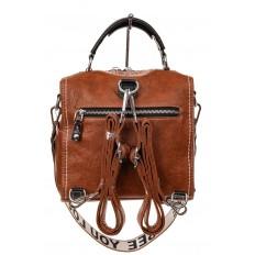 На фото 2 - Сумка рюкзак-трансформер из искусственной кожи, цвет коричневый