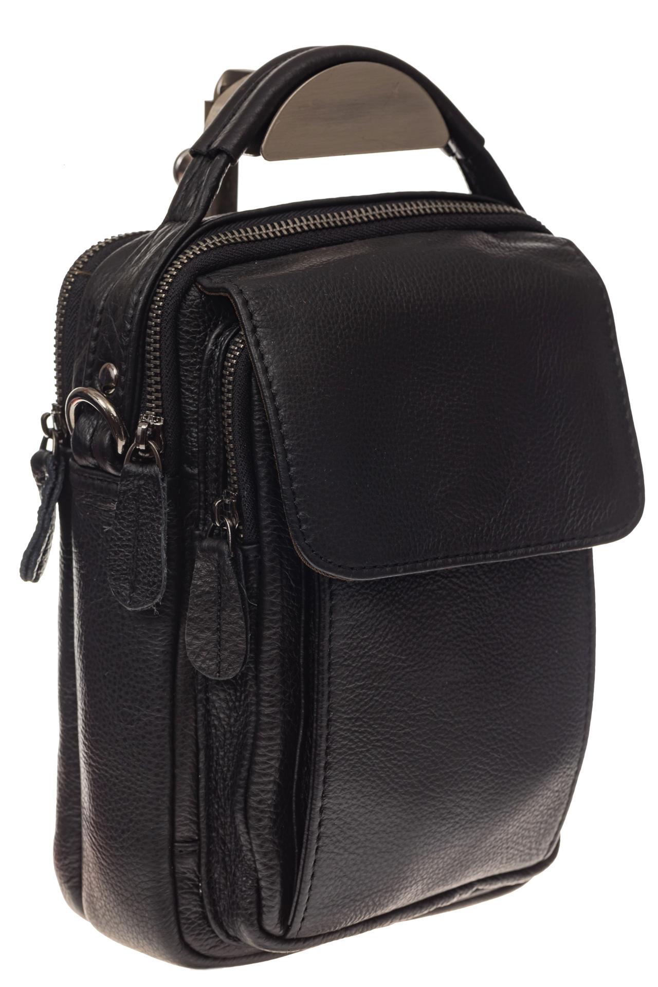 На фото 1 - Мужская сумка из натуральной кожи, цвет черный