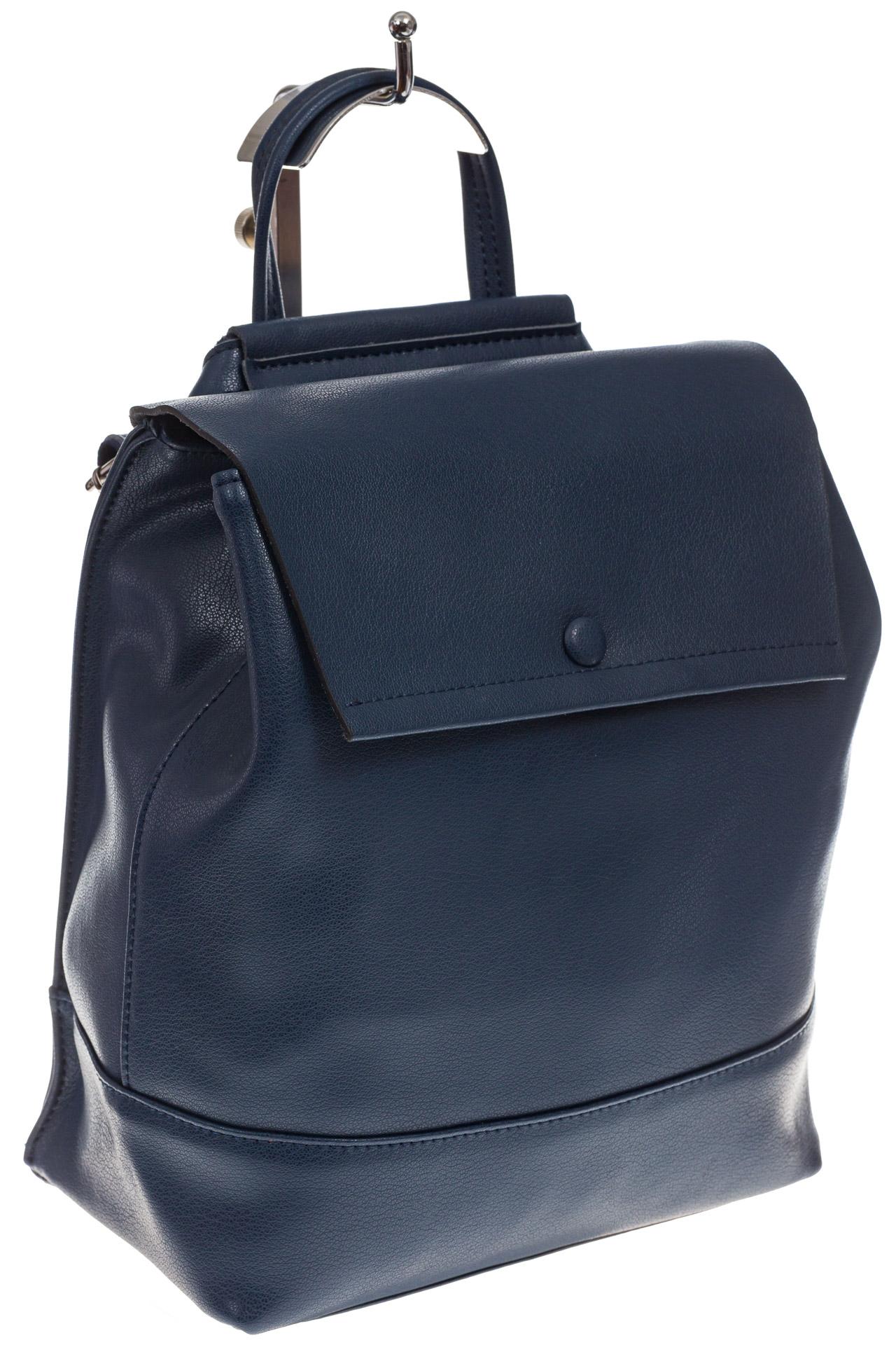 На фото 1 - Синий рюкзак-трансформер из натуральной кожи