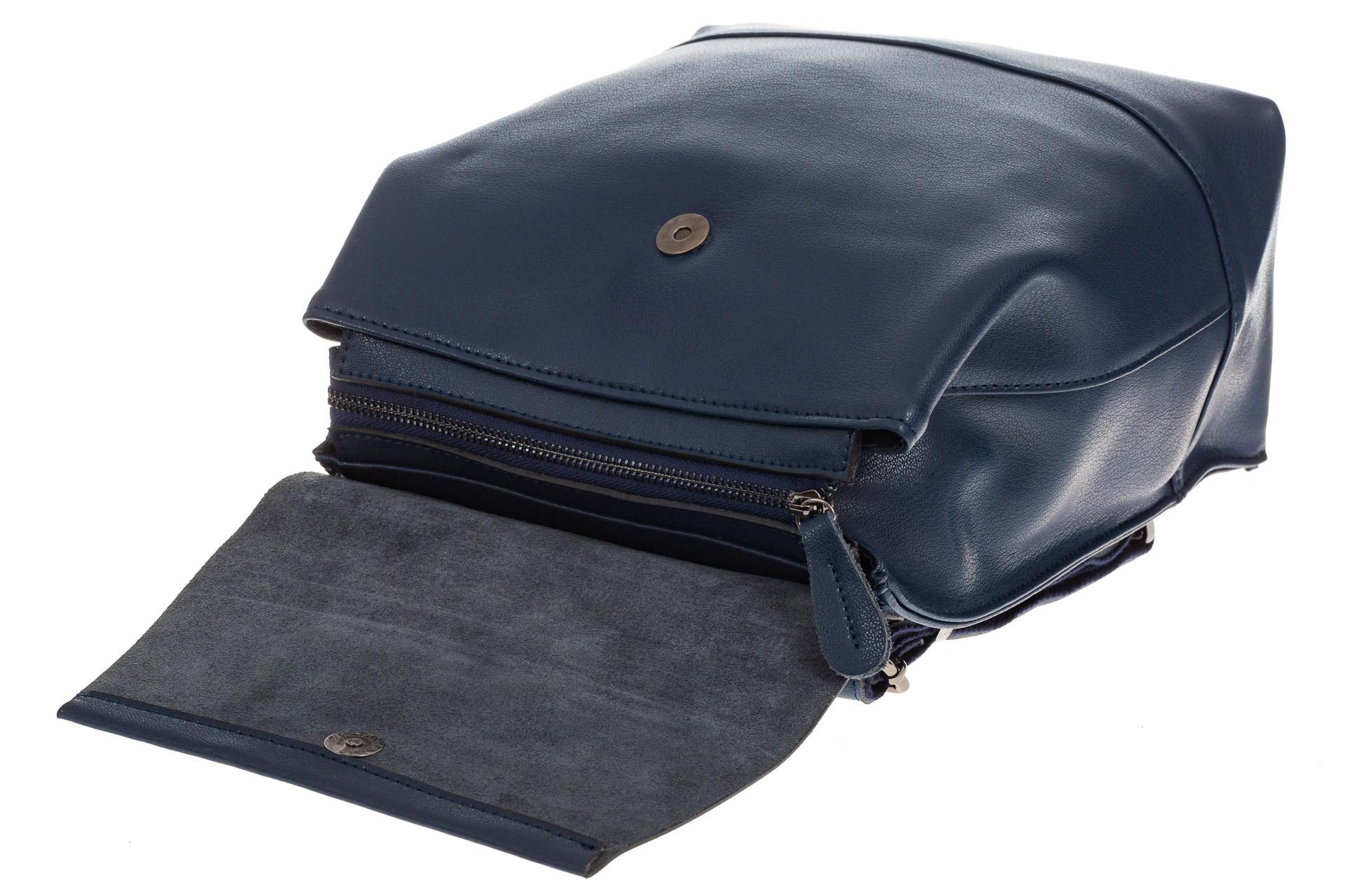 На фото 4 - Синий рюкзак-трансформер из натуральной кожи