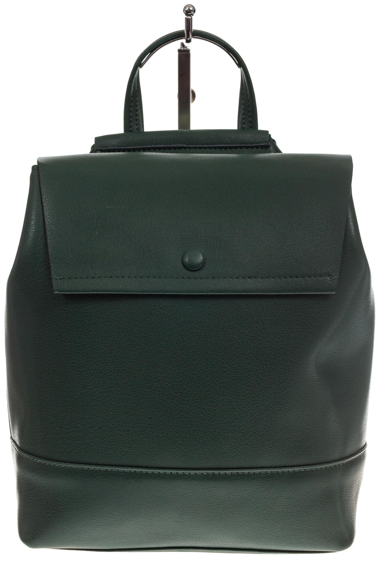 На фото 2 - Зеленый рюкзак-трансформер из натуральной кожи