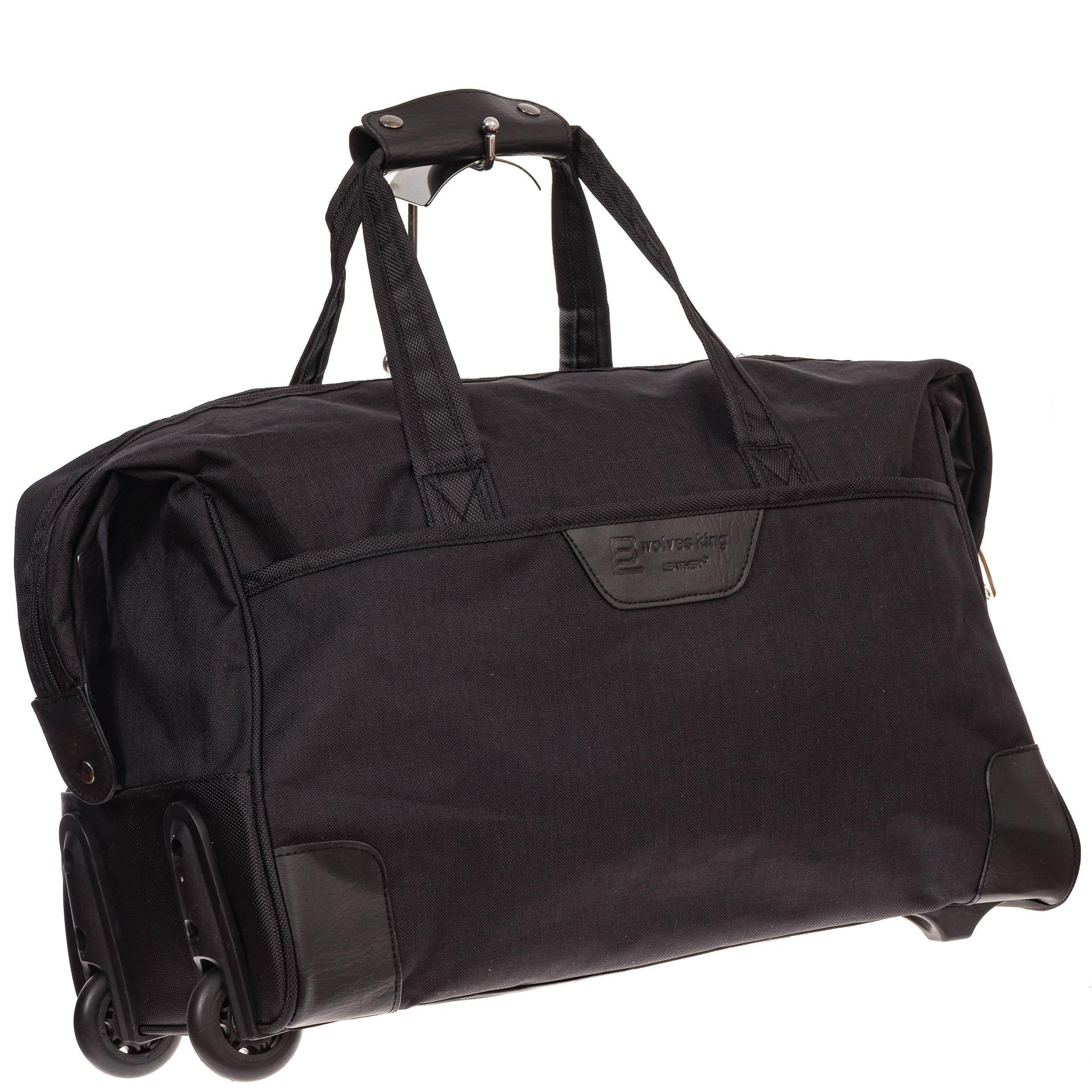 На фото 1 - Дорожная сумка на колесиках, цвет черный