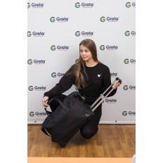 На фото 4 - Дорожная сумка на колесиках, цвет черный