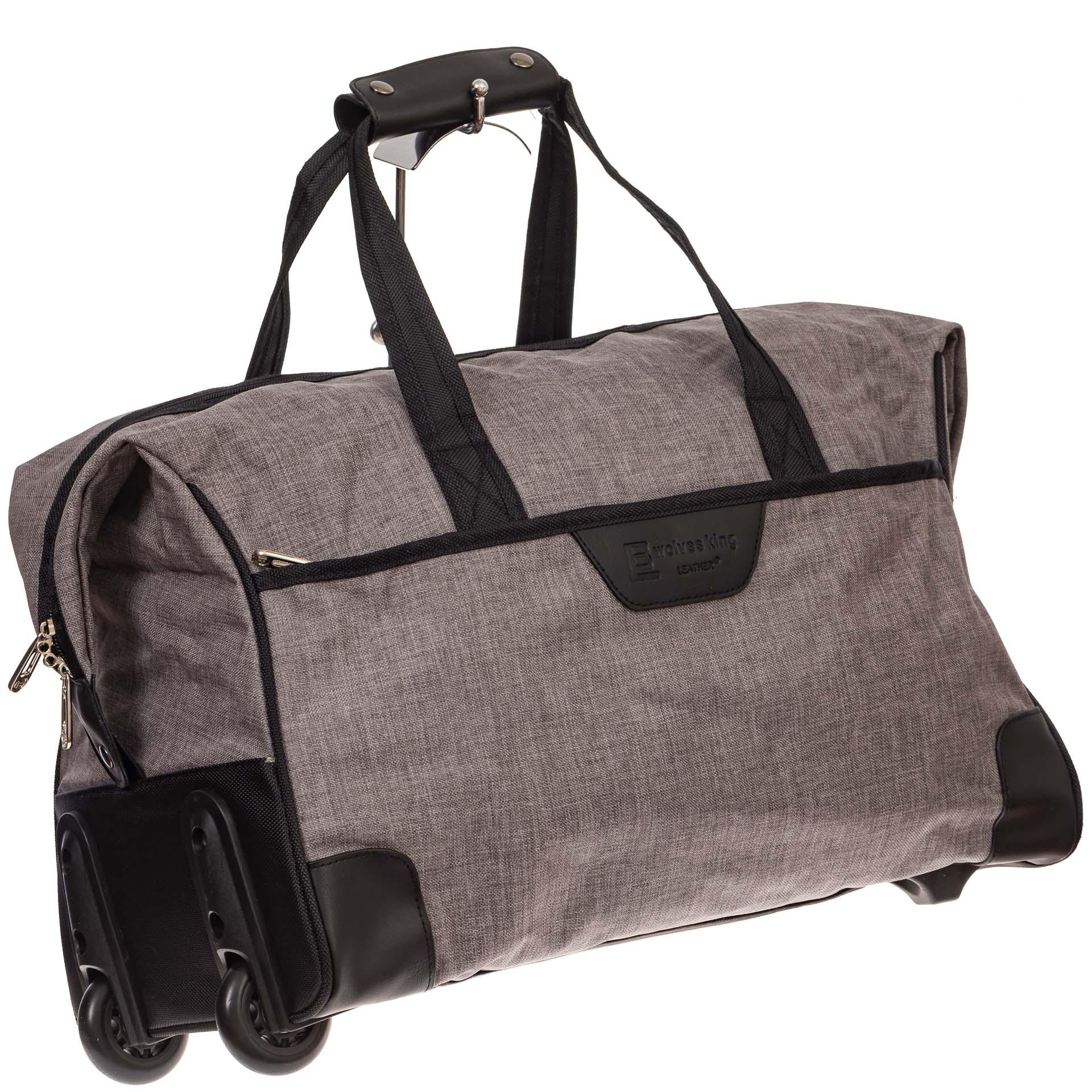 На фото 1 - Дорожная сумка на колесиках, цвет серый