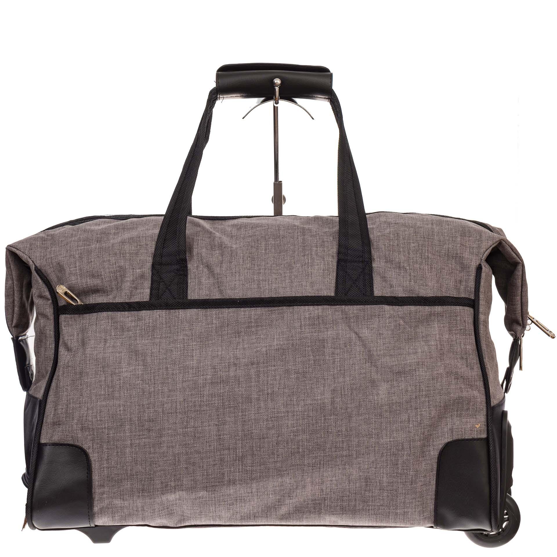 На фото 2 - Дорожная сумка на колесиках, цвет серый