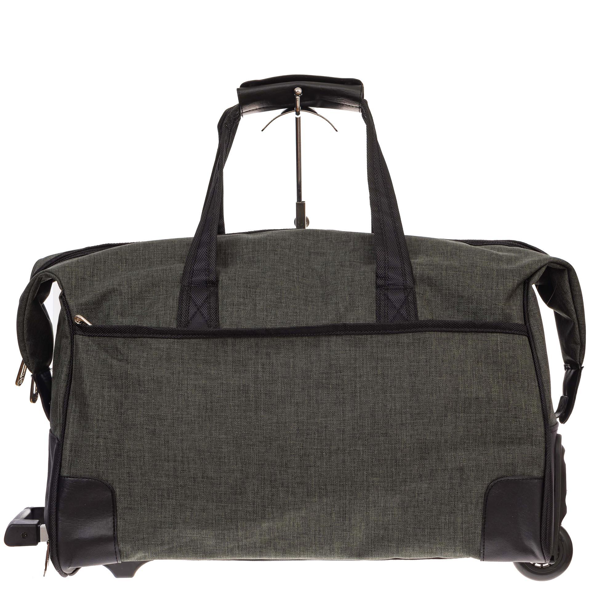 На фото 2 - Дорожная сумка на колесиках, цвет зеленый