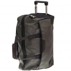 На фото 3 - Дорожная сумка на колесиках, цвет зеленый