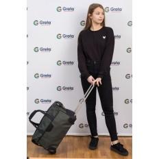 На фото 4 - Дорожная сумка на колесиках, цвет зеленый
