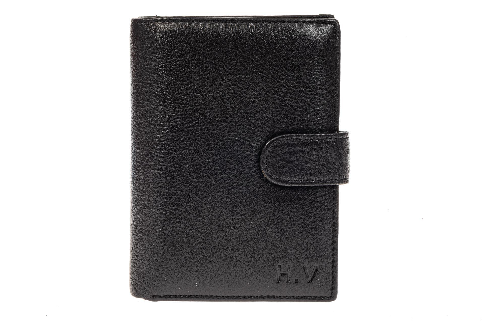 На фото 1 - Многофункциональное мужское портмоне из натуральной кожи, цвет черный