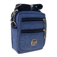 На фото 1 - Спортивная поясная сумка из текстиля, цвет синий