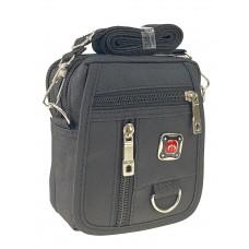 На фото 1 - Спортивная сумка на пояс из текстиля, цвет чёрный