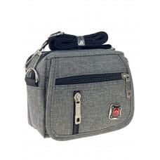 На фото 1 - Мужская сумка на пояс из текстиля, цвет серый