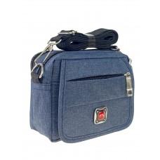 На фото 1 - Мужская сумка на пояс из текстиля, цвет тёмно-синий