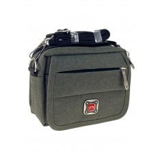 На фото 1 - Мужская сумка на пояс из текстиля, цвет хаки