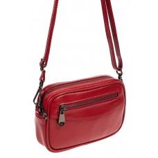 На фото 1 - Маленький прямоугольный клатч из фактурной натуральной кожи, цвет красный