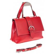 На фото 1 - Кожаная сумка красного цвета 3031AK