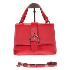 На фото 2 - Кожаная сумка красного цвета 3031AK