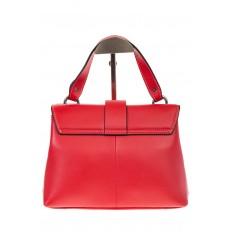 На фото 3 - Кожаная сумка красного цвета 3031AK