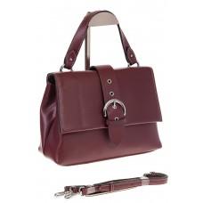 На фото 1 - Кожаная сумка бордового цвета 3031AK