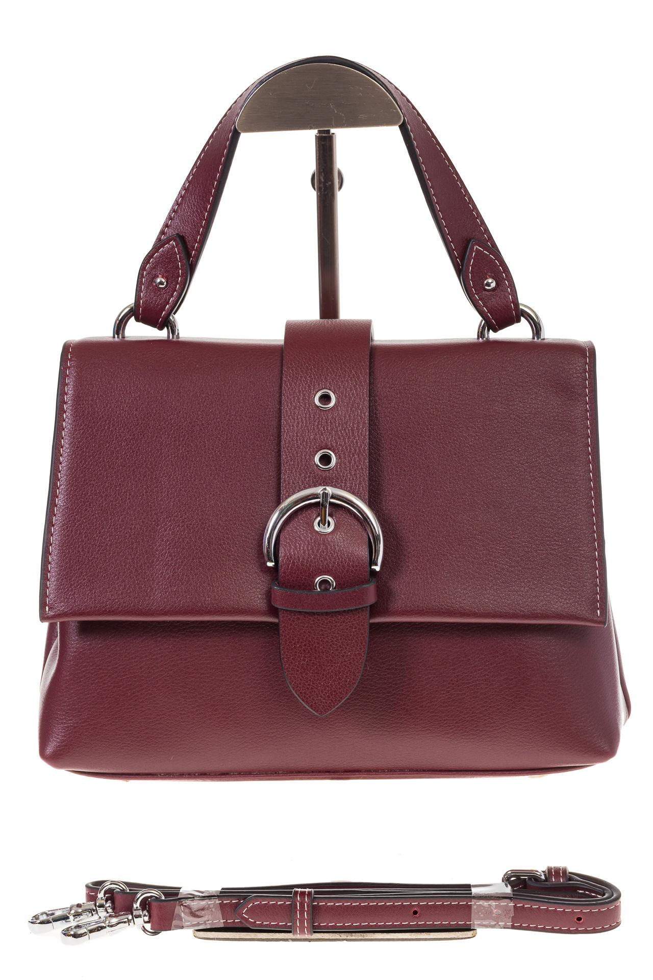 На фото 2 - Кожаная сумка бордового цвета 3031AK