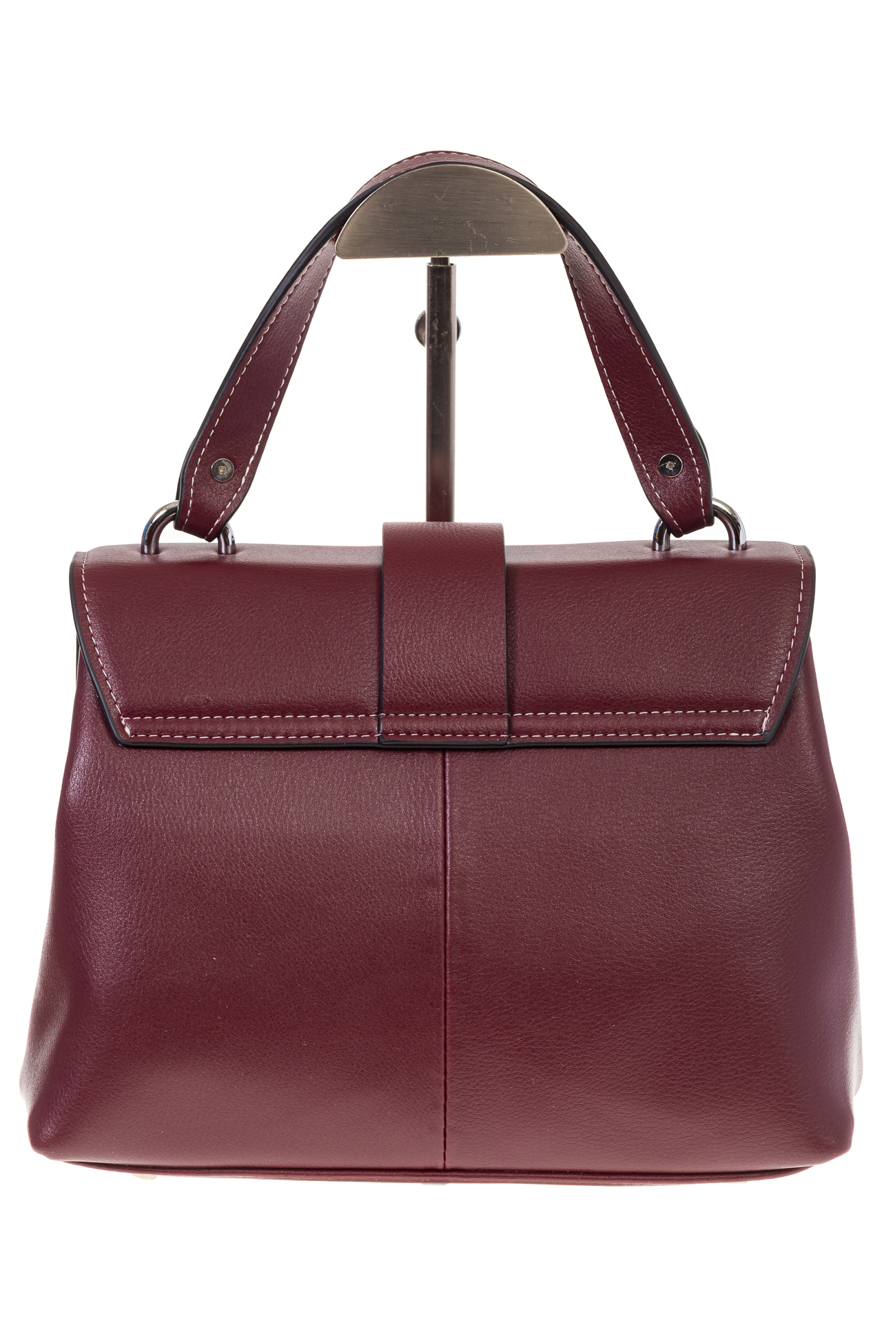 На фото 3 - Кожаная сумка бордового цвета 3031AK
