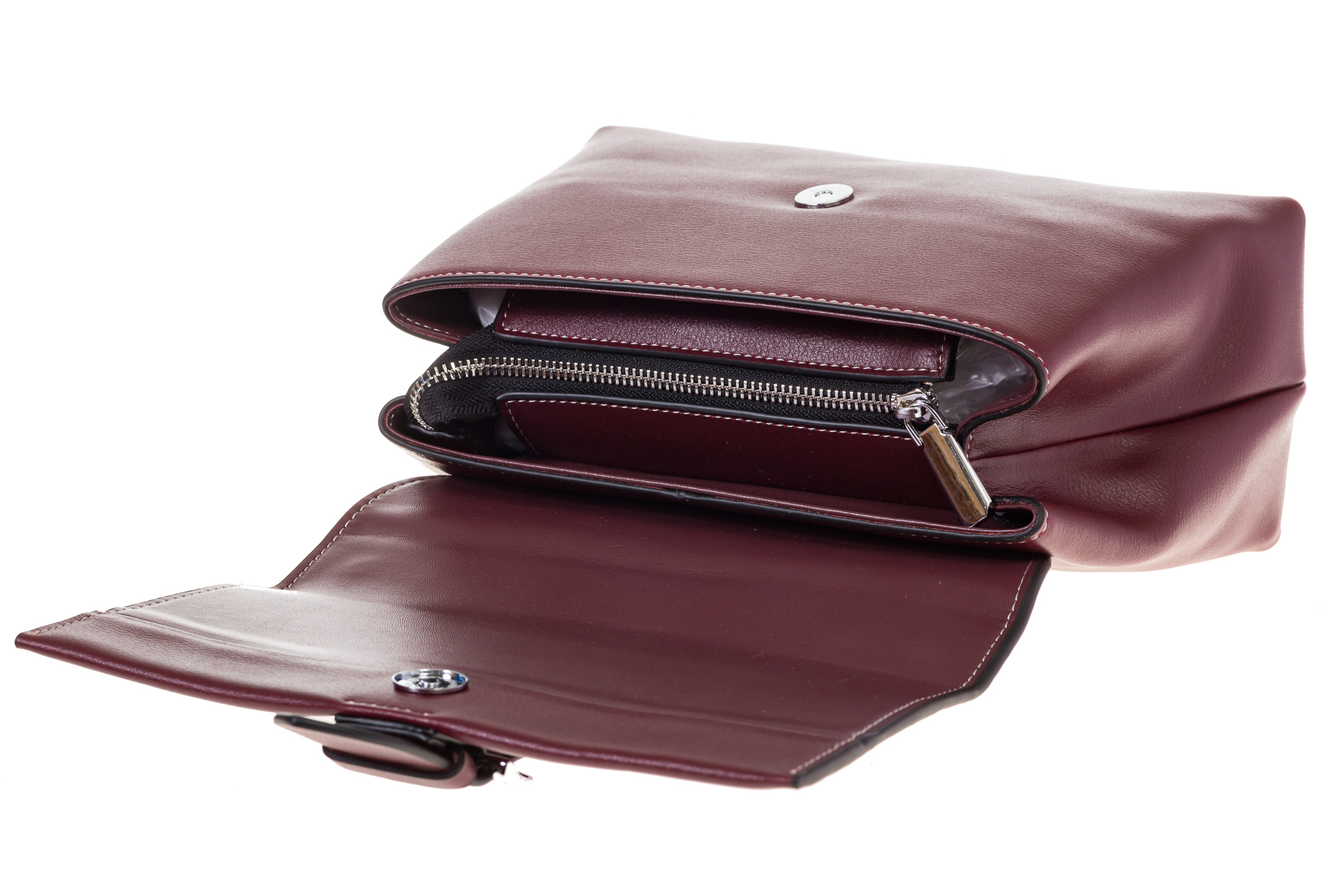 На фото 4 - Кожаная сумка бордового цвета 3031AK