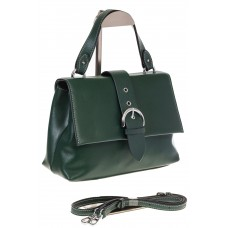 На фото 1 - Кожаная сумка зеленого цвета 3031AK