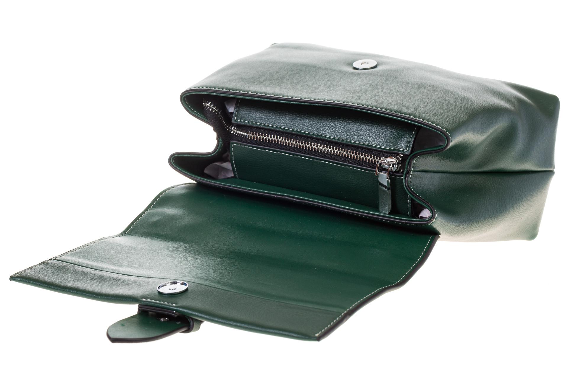 На фото 4 - Кожаная сумка зеленого цвета 3031AK