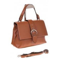 На фото 1 - Кожаная сумка коричневого цвета 3031AK