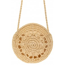 На фото 1 - Круглая плетеная сумка из соломы, цвет слоновая кость