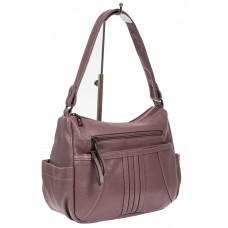 На фото 1 - Женская сумка хобо из искусственной кожи, цвет сиреневый