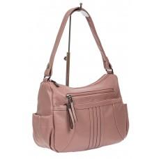 На фото 1 - Женская сумка хобо из искусственной кожи, цвет пыльная роза