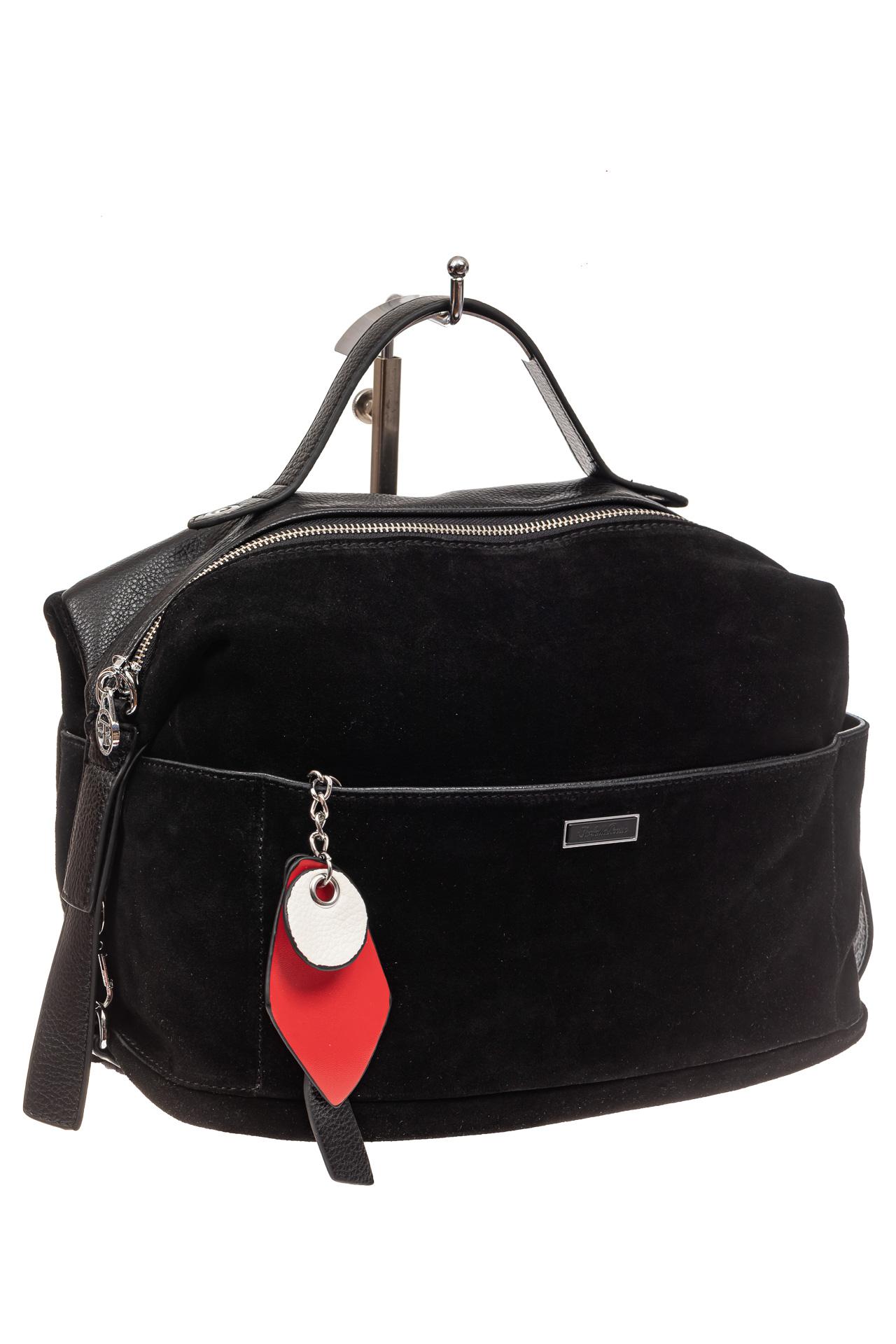 На фото 1 - Сумка женская с карманами из искусственной кожи и замши, цвет черный