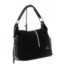 На фото 1 - Комбинированная сумка хобо из искусственной кожи и замши, цвет черный