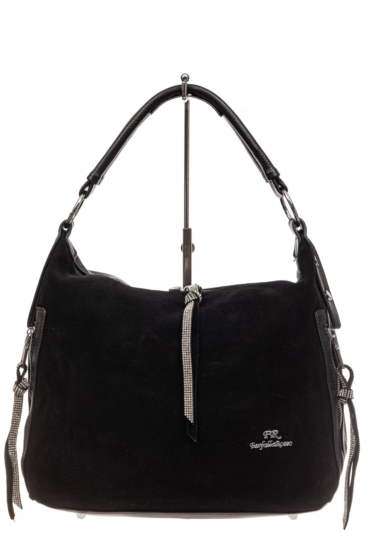 На фото 2 - Комбинированная сумка хобо из искусственной кожи и замши, цвет черный