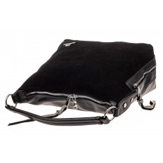 На фото 4 - Комбинированная сумка хобо из искусственной кожи и замши, цвет черный