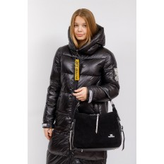 На фото 5 - Комбинированная сумка хобо из искусственной кожи и замши, цвет черный