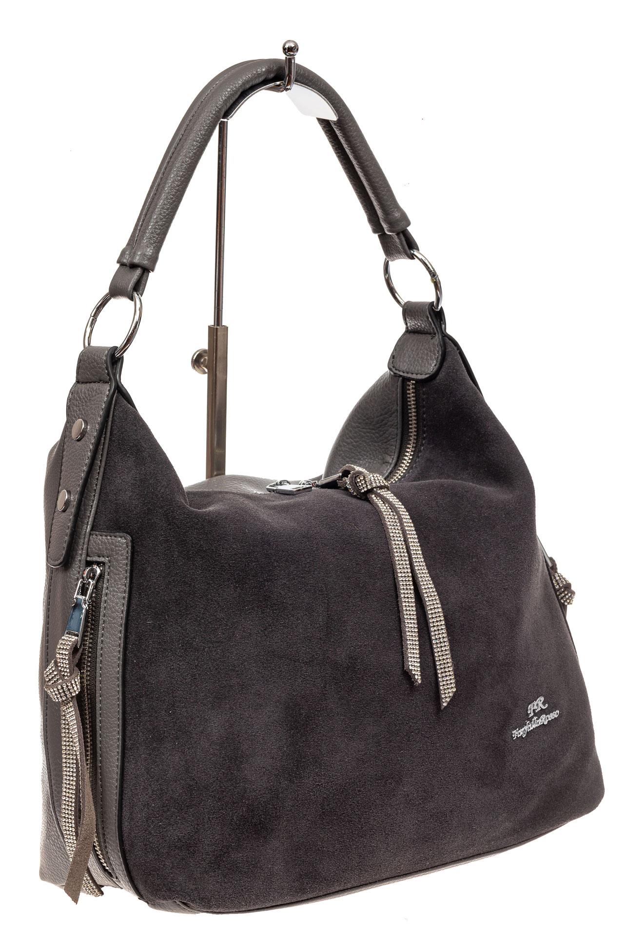 На фото 1 - Комбинированная сумка хобо из искусственной кожи и замши, цвет серый