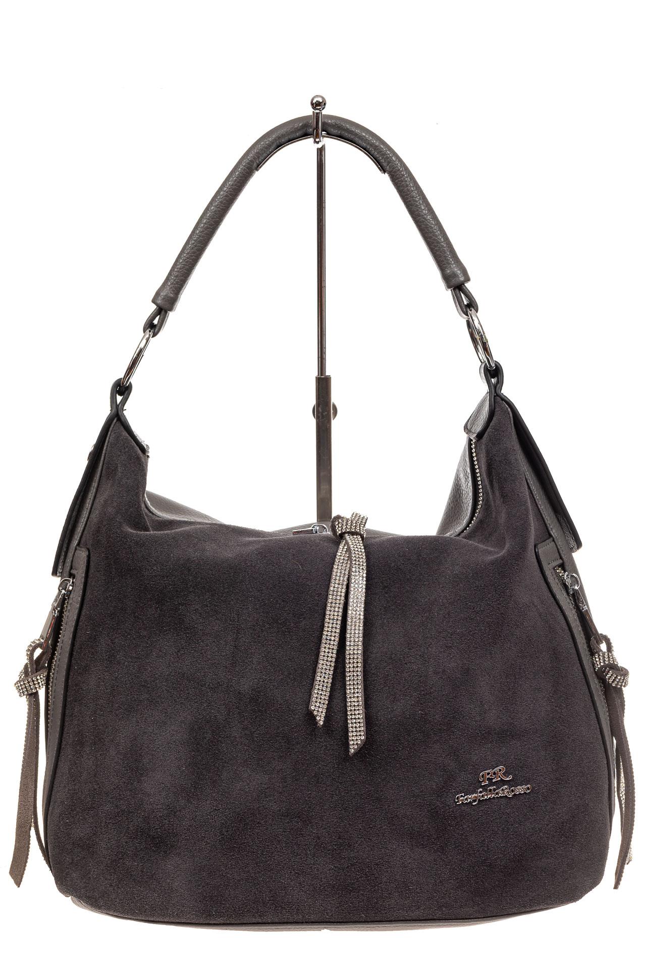 На фото 2 - Комбинированная сумка хобо из искусственной кожи и замши, цвет серый