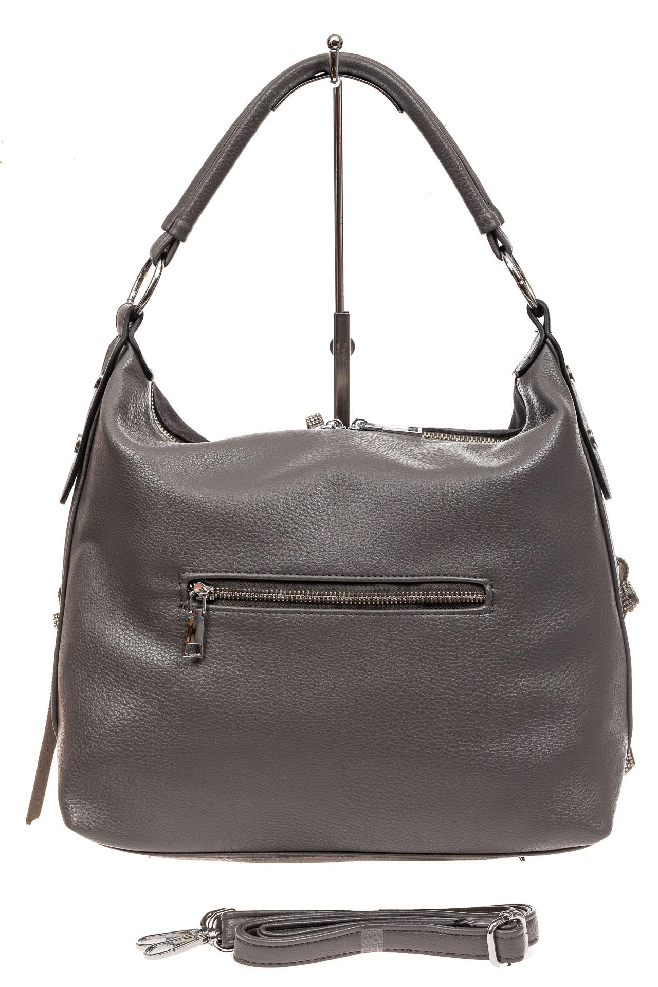На фото 3 - Комбинированная сумка хобо из искусственной кожи и замши, цвет серый